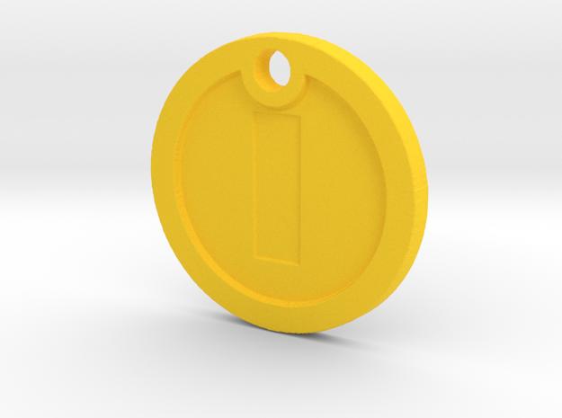 Super Mario Gold Coin Replica Necklace in Yellow Processed Versatile Plastic
