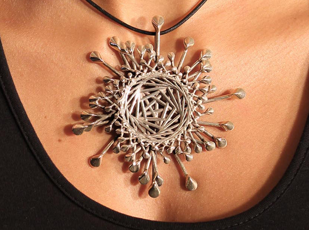 Spinnoloids Firework Pendant 9.5cm by unellenu in Polished Silver