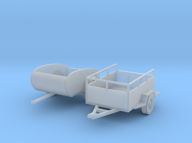 Small Trailers S Scale in Smooth Fine Detail Plastic