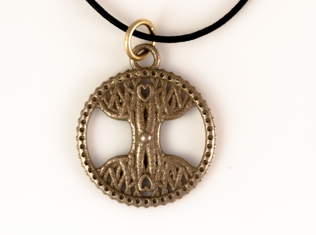 Tree Of Life Pendant in Polished Bronzed Silver Steel