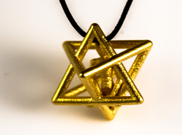 Merkaba Meditation Pendant in Polished Gold Steel