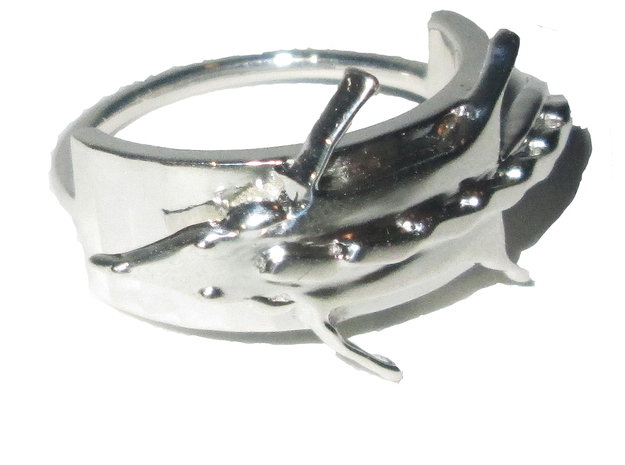 Fox Stole Ring - Sz. 5 in Fine Detail Polished Silver