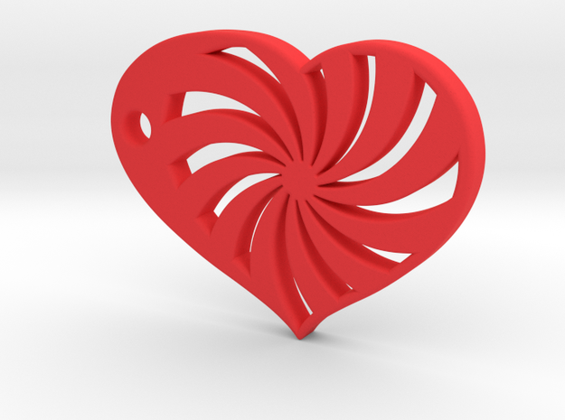 Spiral Heart in Red Processed Versatile Plastic
