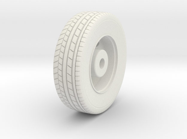 Front Wheel in White Natural Versatile Plastic