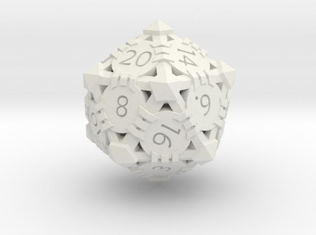 D20 - Andrew Bell 3d - Geometric Design 1 in White Natural Versatile Plastic