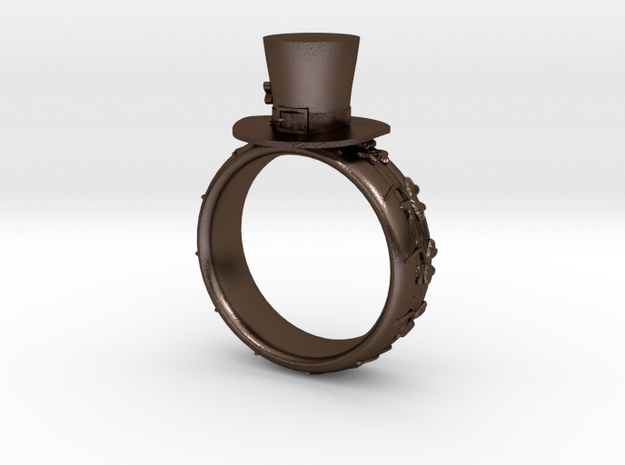 St Patrick's hat ring(size is = USA 4.5-5) in Polished Bronze Steel