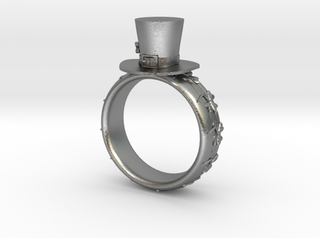 St Patrick's hat ring(size = USA 5) in Natural Silver