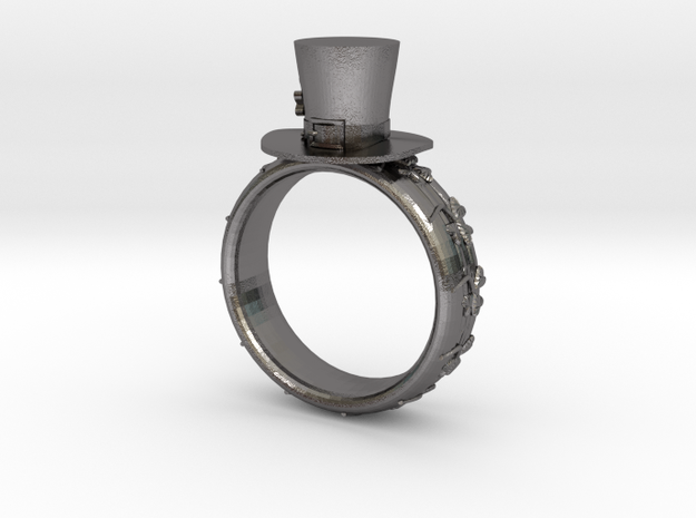St Patrick's hat ring(size = USA 6) in Polished Nickel Steel