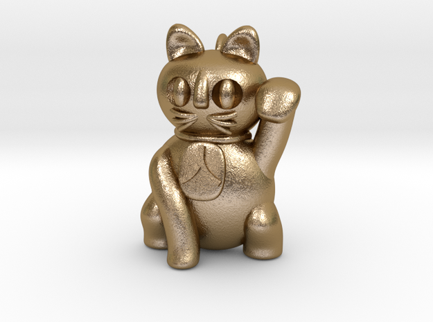 Manekineko pendant (A person is invited.) in Polished Gold Steel