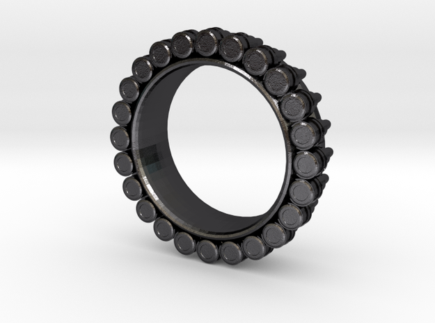 Bullet ring(size = USA 6) in Polished Grey Steel