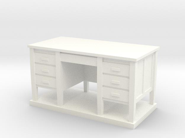 Miniature 1:48 Desk in White Processed Versatile Plastic