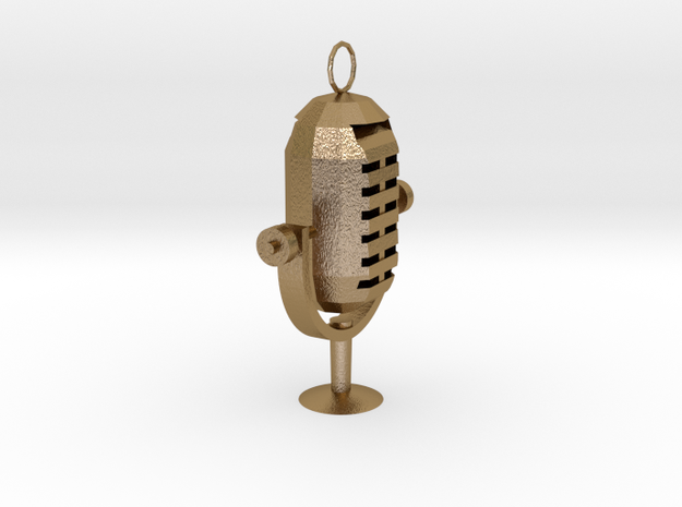 Microphone  Necklace in Polished Gold Steel