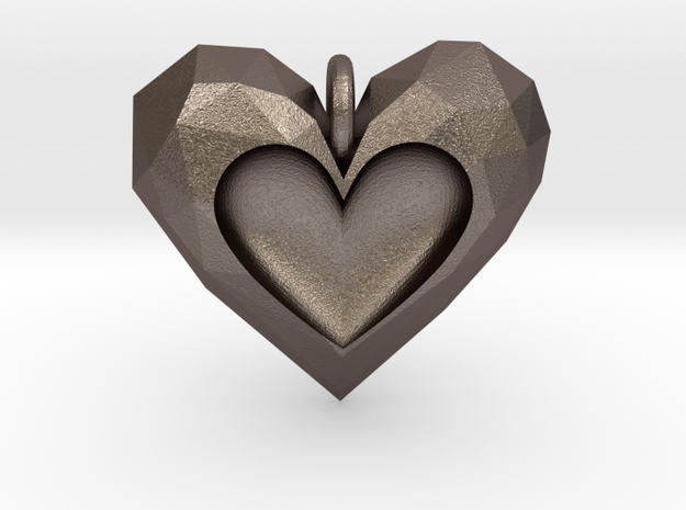 Heart Pendant V2 in Polished Bronzed Silver Steel