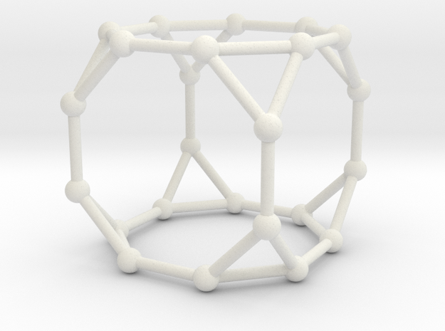 Truncated Cube in White Natural Versatile Plastic