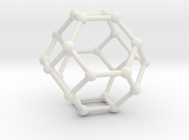 Truncated Octahedron in White Natural Versatile Plastic