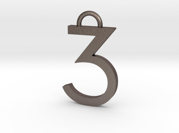 Lucky Number 3 Keychain in Polished Bronzed Silver Steel