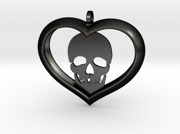Skull Heart (2) in Matte Black Steel
