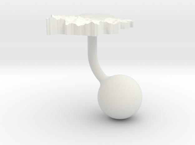 Serbia Terrain Cufflink - Ball in White Natural Versatile Plastic