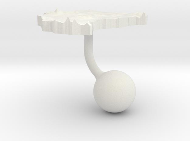 Sudan Terrain Cufflink - Ball in White Natural Versatile Plastic
