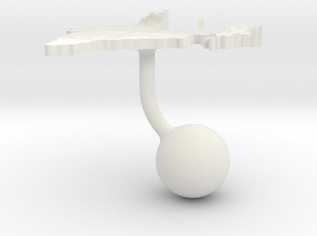 India Terrain Cufflink - Ball in White Natural Versatile Plastic