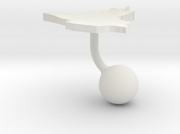 Iraq Terrain Cufflink - Ball in White Natural Versatile Plastic