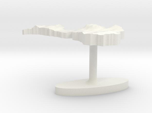 Latvia Terrain Cufflink - Flat in White Natural Versatile Plastic