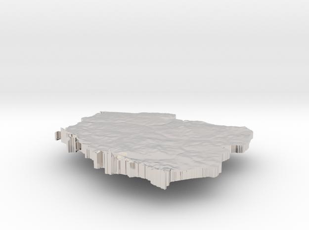 Poland Terrain Silver Pendant 3d printed