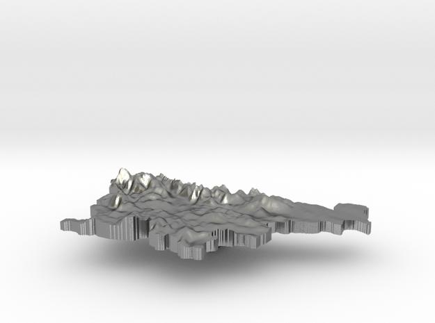 Slovenia Terrain Silver Pendant in Raw Silver