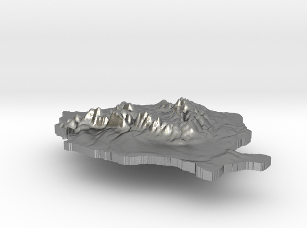 Romania Terrain Silver Pendant in Raw Silver