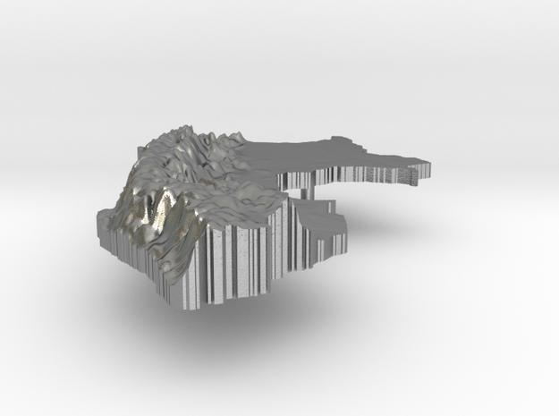 Peru Terrain Silver Pendant in Raw Silver
