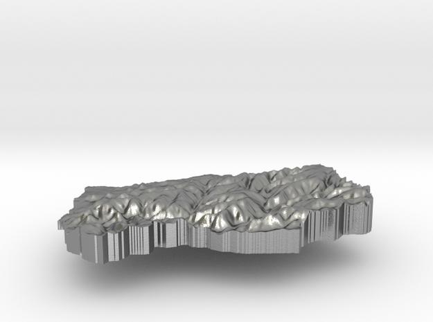 Lesotho Terrain Silver Pendant in Raw Silver