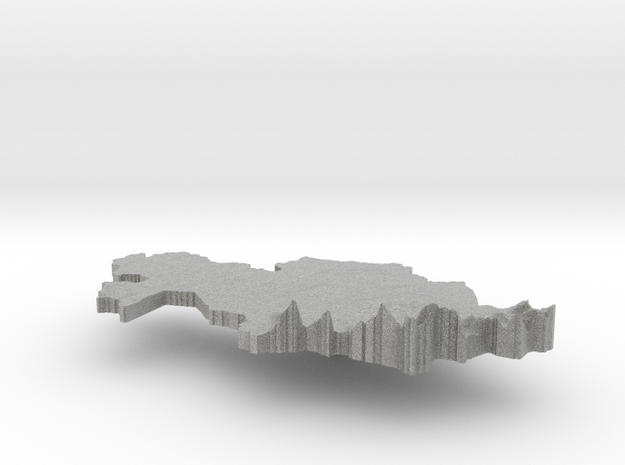 Kazakhstan Terrain Silver Pendant 3d printed