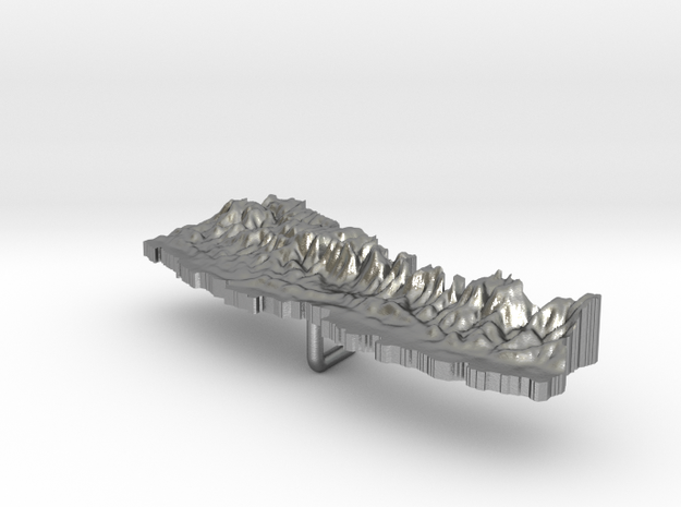 Nepal Terrain Silver Pendant in Raw Silver