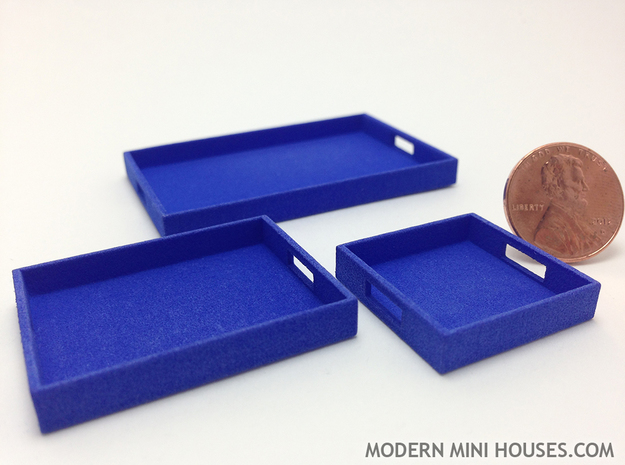 3 Piece Tray Collection 1:12 Scale in Blue Processed Versatile Plastic