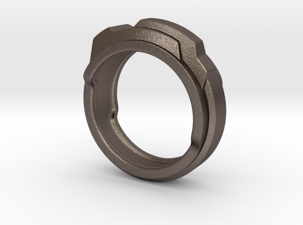 Techno ring 3d printed This material is Polished Silver , Patinated with bleach