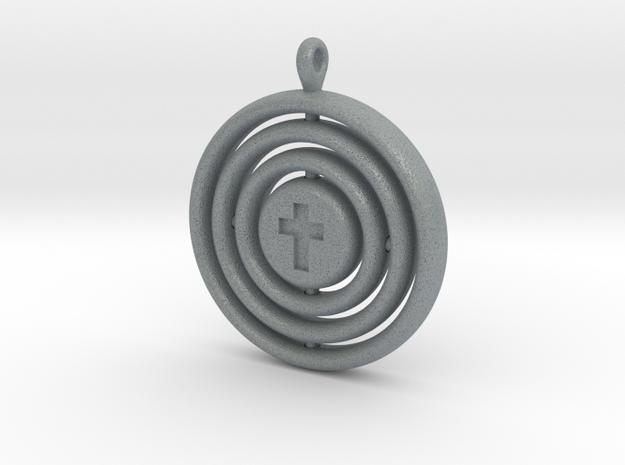 Orrery cross pendant in Polished Metallic Plastic