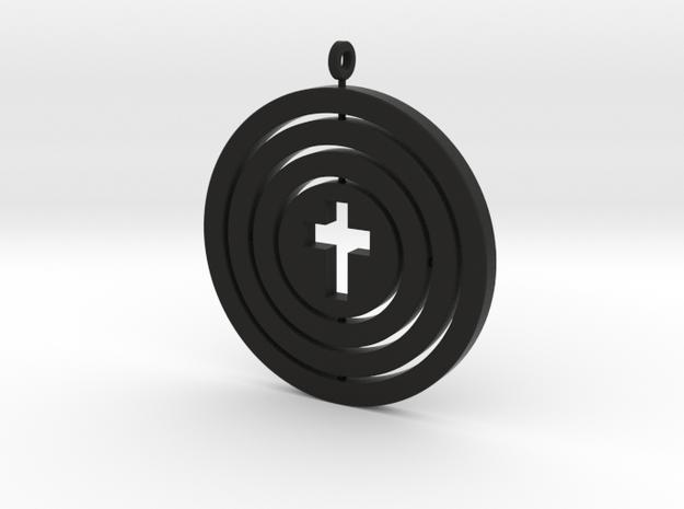 Orrery empty cross — flat in Black Natural Versatile Plastic