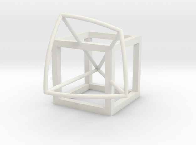Cube with kite panel in White Natural Versatile Plastic