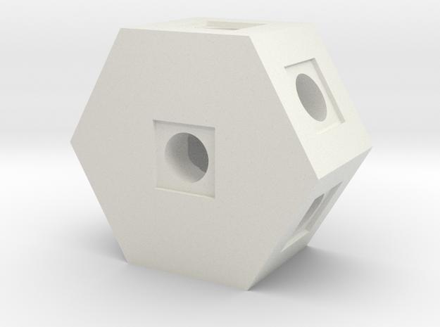Hex Block in White Natural Versatile Plastic