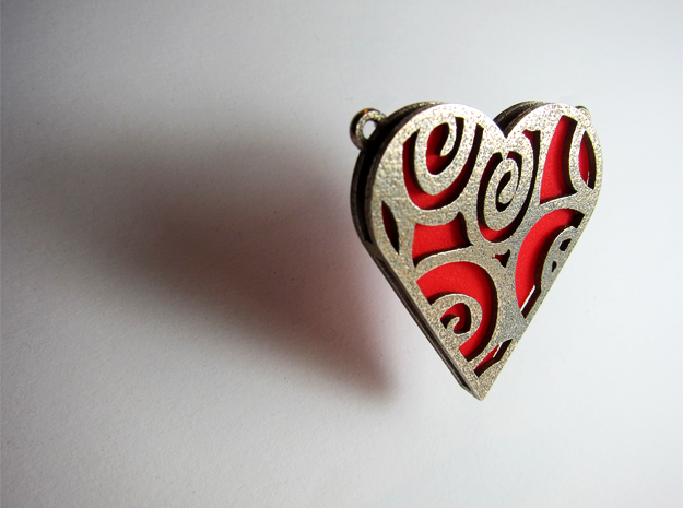 Coloured Heart in Polished Bronzed Silver Steel