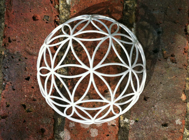3D 300mm Half Orb of Life (3D Flower of Life)  in White Strong & Flexible