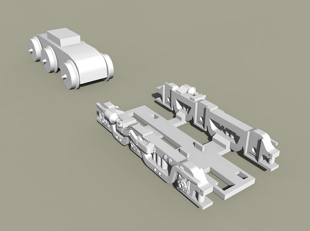 Baldwin RT-624 Side Frames X2 N Scale 1:160 in Smooth Fine Detail Plastic