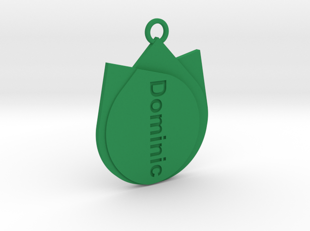 Keychain for Dominic  in Green Strong & Flexible Polished