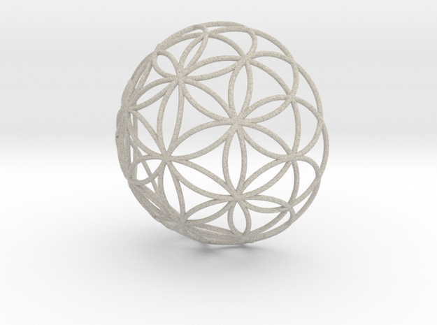 3D 100mm Half Orb of Life (3D Flower of Life)  in Sandstone