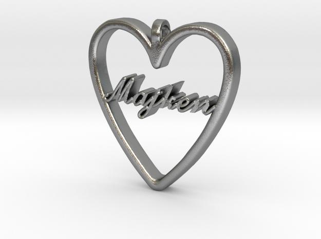 """Smykke - Hjerte med navn """"Majken"""" in Natural Silver"""