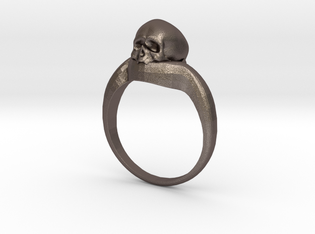 150109 Skull Ring 1 Size 11  in Polished Bronzed Silver Steel