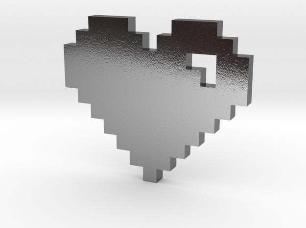 8 Bit Heart (Pixel Heart) in Polished Silver