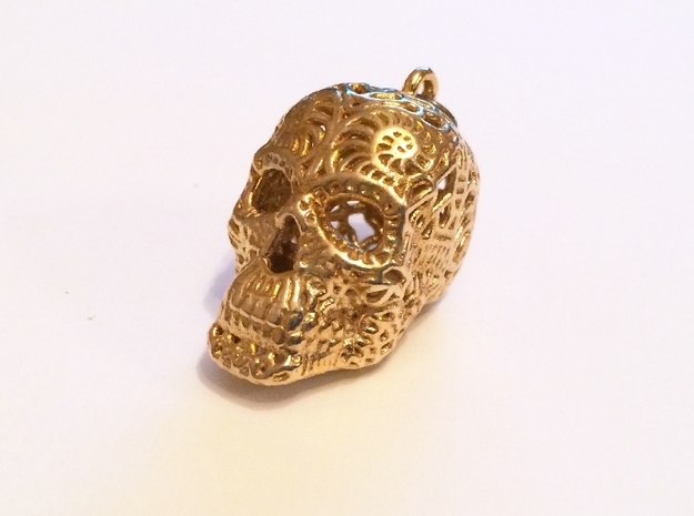 Filigree Sugar Skull Pendant 1 in Polished Brass