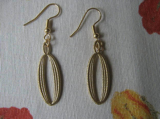 Coil 96 1 Earrings in Natural Brass