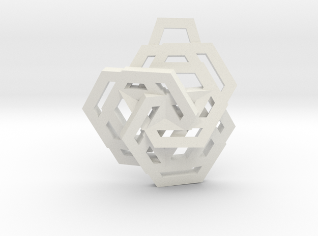 Triple Hexagon Pendant in White Natural Versatile Plastic